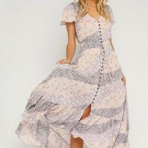 Okivaceous maxi flowy dress